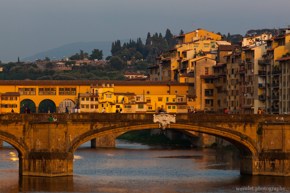 Ponte Vecchio and Ponte Santa Trinita in sunset, Florence