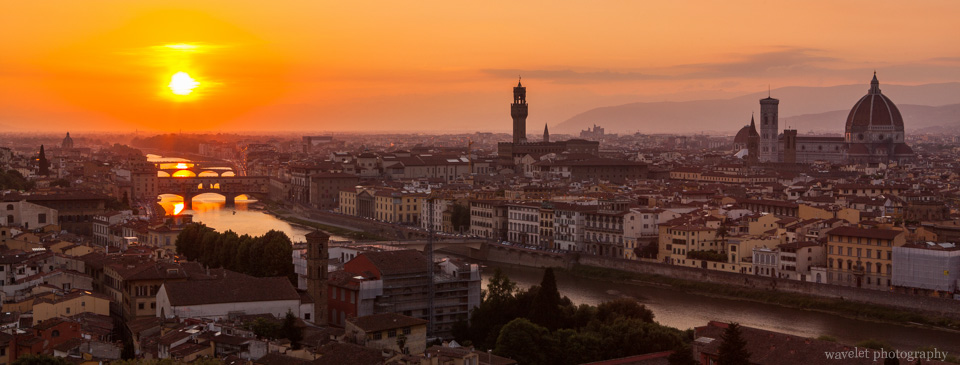 City's panoramic view from Piazzale Michelangelo, Florence