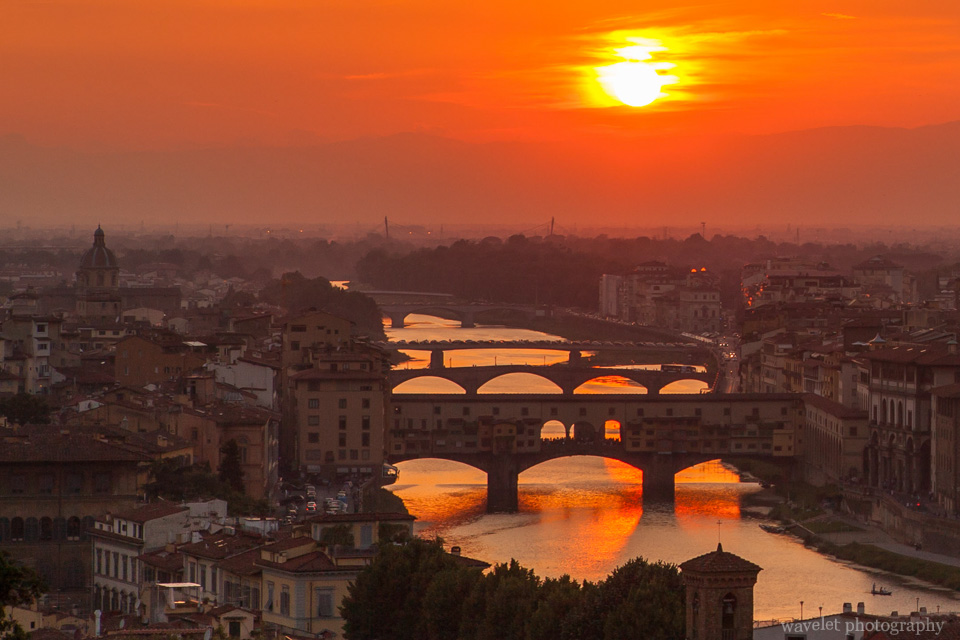 River Arno and Bridges in the sunset glow, Florence