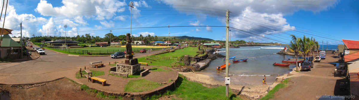 The harbor, Hanga Roa O\'tai, and the town, Easter Island