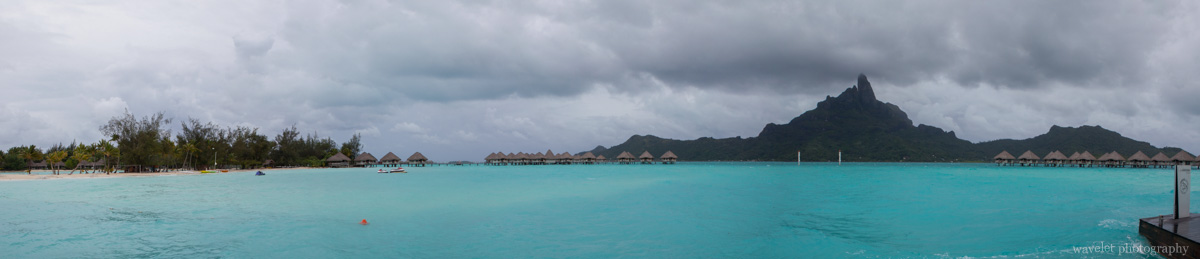 Panoramic view of Mount Otemanu and Le Méridien Bora Bora