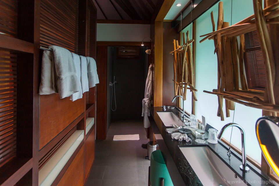 Inside the overwater bungalow in Le Méridien Bora Bora