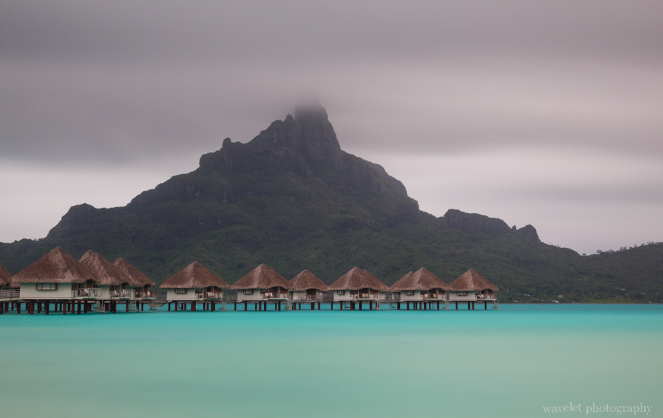 View of Mount Otemanu and overwater bungalows of Le Méridien Bora Bora