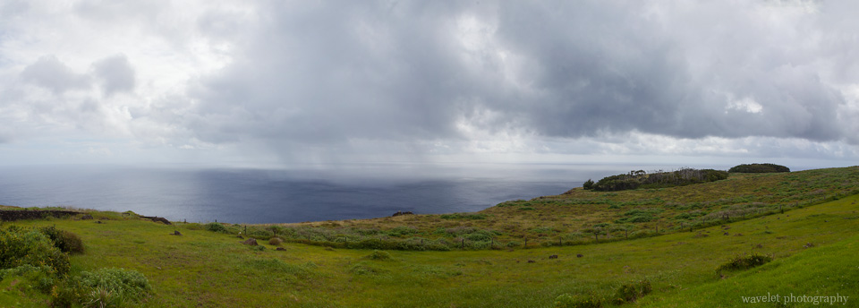 Panorma view of the island and the sea from Rano Kau, Easter Island