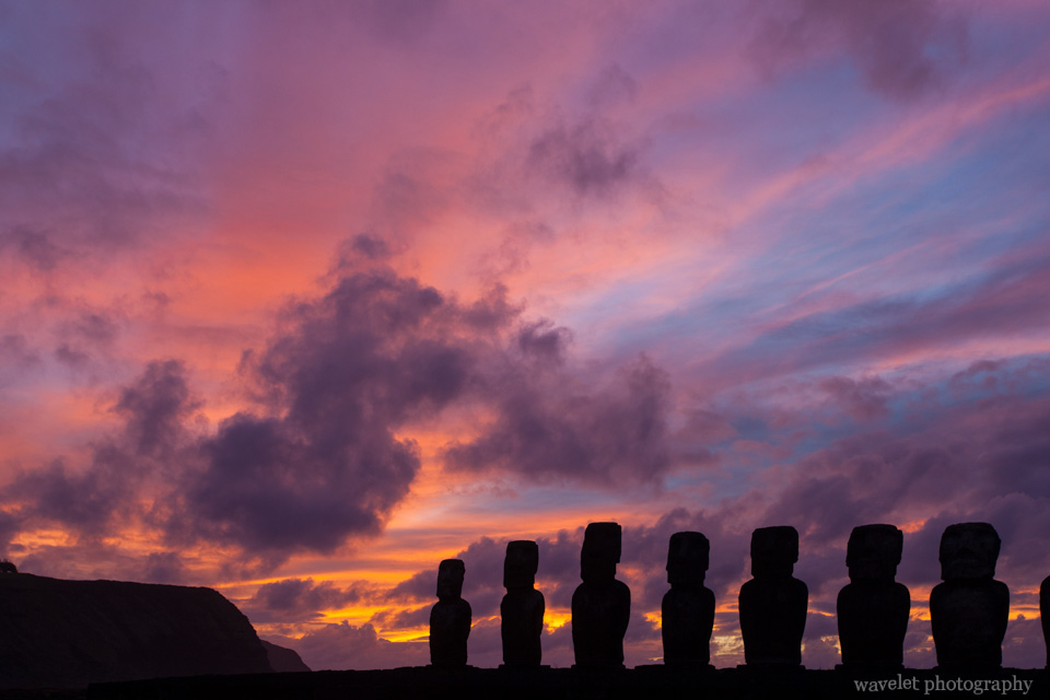 Ahu Tongariki at sunrise, Easter Island