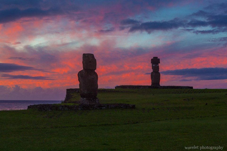 Ko Te Riku (with restored eyes) and Tahai at sunset, Easter Island