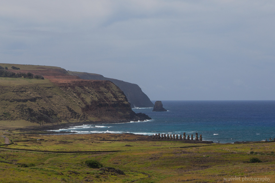 Overlook Ahu Tongariki from Rano Raraku, Easter Island