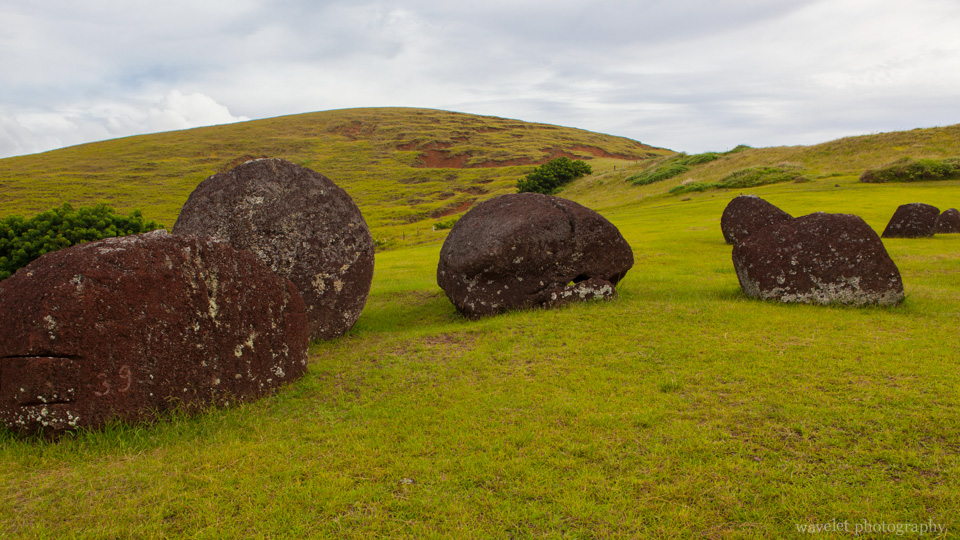 Red scoria, used to carve the pukao (topknots), at Puna Pau, Easter Island