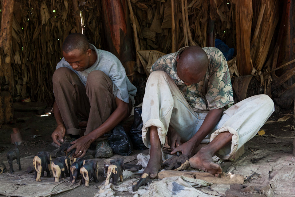 Locals carving the wood near Mto wa Mbu