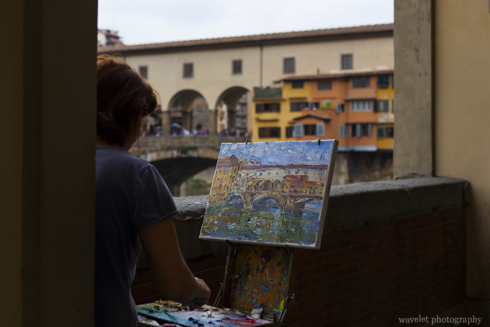 From the loggia of Uffizi by Arno river, Florence