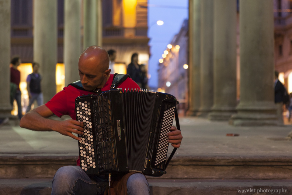 Playing accordion at Mercato Vecchio (The Old Market), Florence