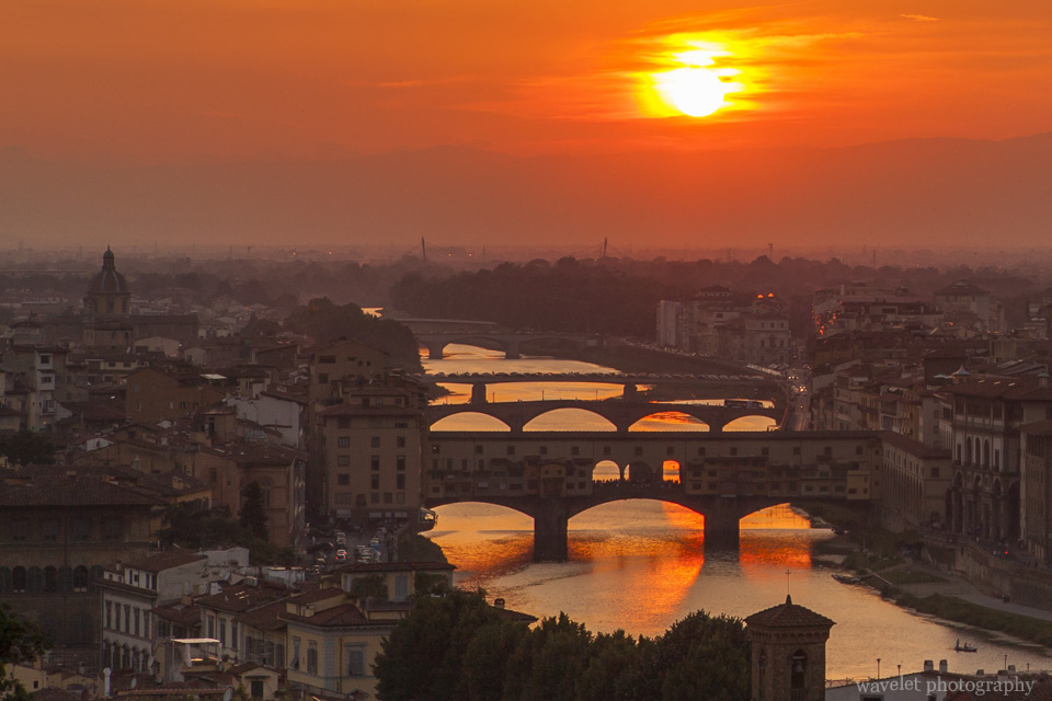 River Arno and Bridges in sunset, Florence